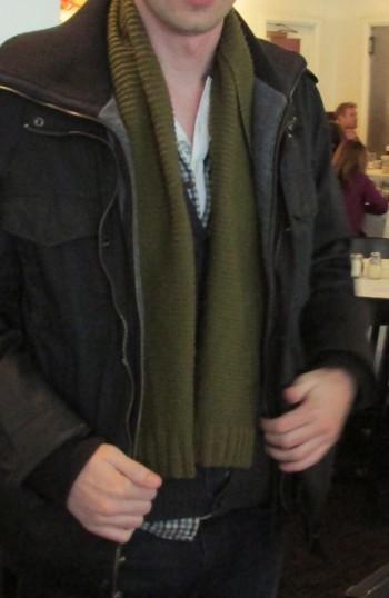 scarf in mainly garter stitch