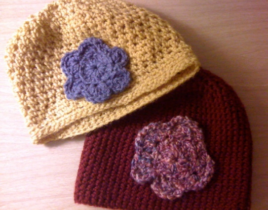 crocheted beanies and my first crocheted flowers