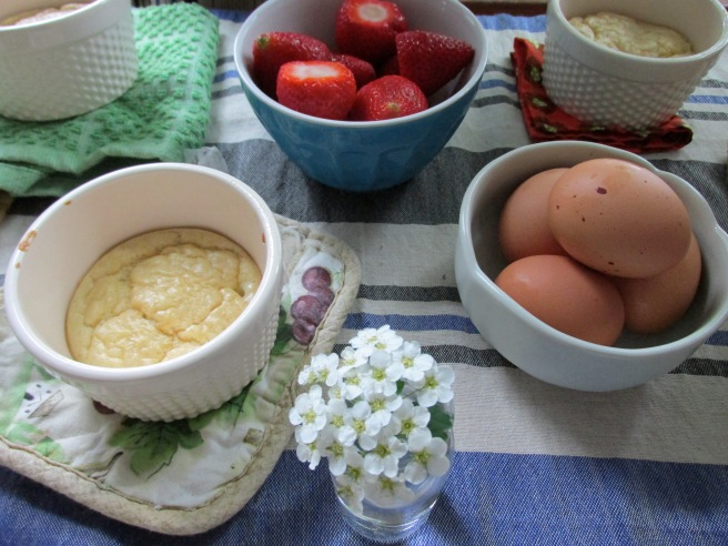 Julia Child's souffle with gruyere, soft boiled eggs, strawberries