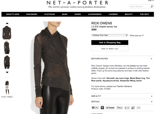 I think I need this: Rick Owens jersey draped Lilies top on Net-a-porter.com