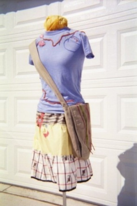 My peach appliqued tshirt inspired by Natalie Chanin (styled with my first designs of  tiered skirt and messenger bag)