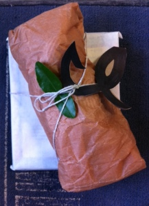 a lime leaf I snipped accents the gift