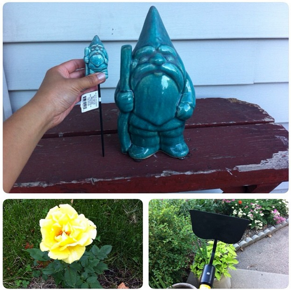 My new garden mini-me gnome hose guide, and a hoe i bought