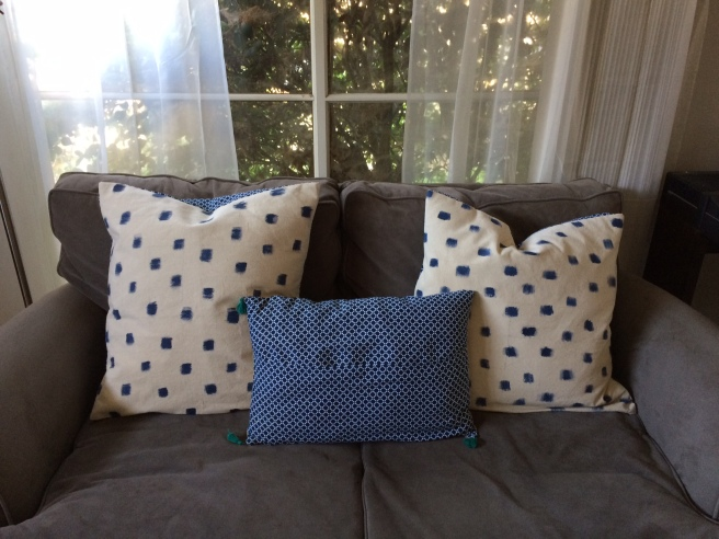 Fabric markered duck cloth pillows